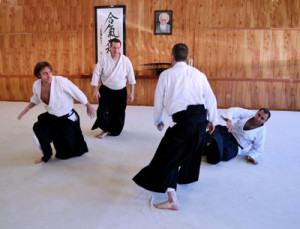 Aikido randori - multiple attacker practice with George Ledyard