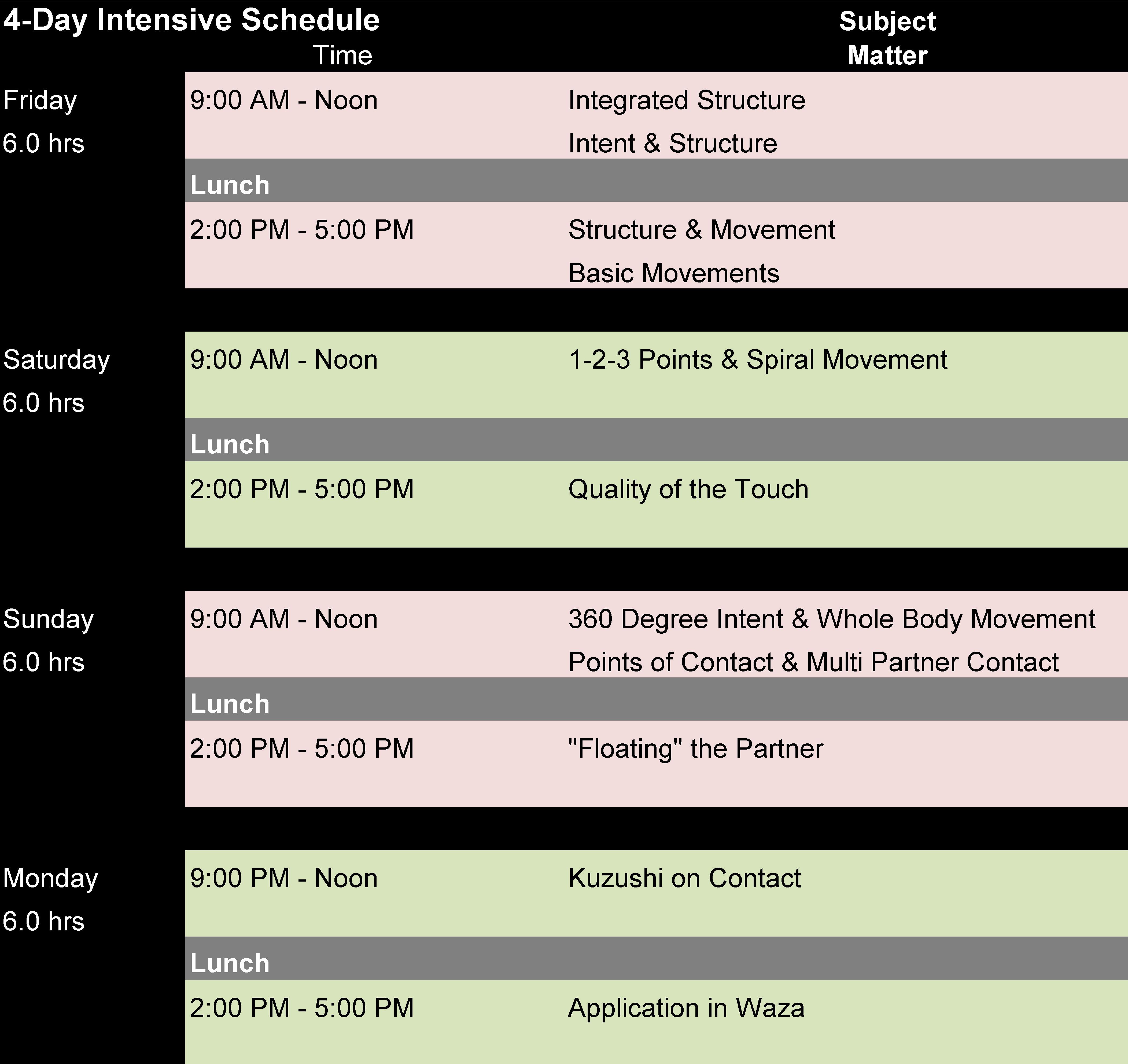2017 – 10 – Phoenix Body – Mind Intensive – Schedule