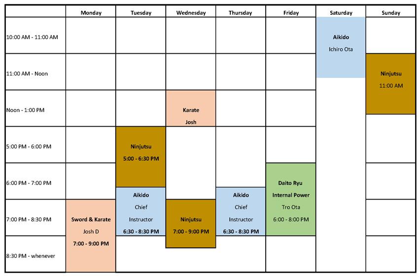 Aikido Dojo Schedule